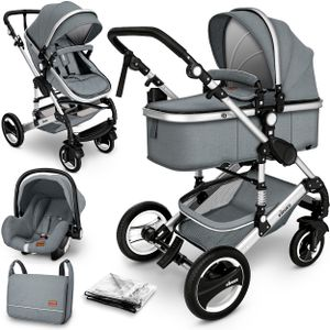 KIDUKU® 3 in 1 Kombi-Kinderwagen Grau/Silber Buggy Reisebuggy inkl. Auto- Babyschale Faltbar