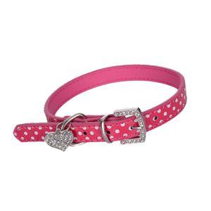 Hundehalsband Katzenhalsband verstellbares Halsband mit Herz Anhänger für kleine Hunde, Welpen und Katzen Größe L