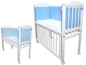Beistellbett 90x40 cm mit Matratze, Nestchen und Räder höhenverstellbar blau