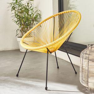 ACAPULCO eiförmiger Sessel - Gelb - Retro-Design 4-beiniger Sessel, Kunststoffschnur, innen / außen