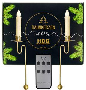 Baumkerzen kabellos mit Fernbedienung - LED Kerzen + Balancehalter gold, Set:18er Set Kerzen weiß