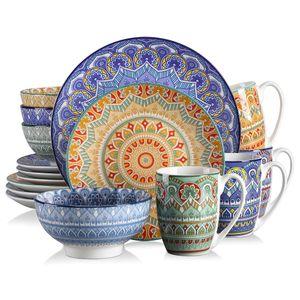 Vancasso Tafelservice Porzellan, Mandala 16 teiliges Essgeschirr Kombiservice, handbemaltes Geschirrset für 4 Personen, böhmischer Stil