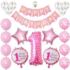 1st 1 Jahr Geburtstag Baby Kinder Jungen Mädchen Balloons Party Decoration Set Rosa