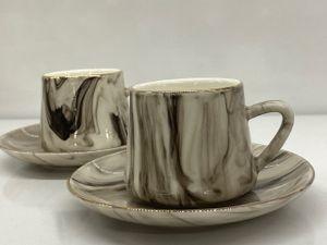 12tlg. Espressoservice Espresso Service Tassen Untertassen Design Marble/Marmor   (TRX 615)