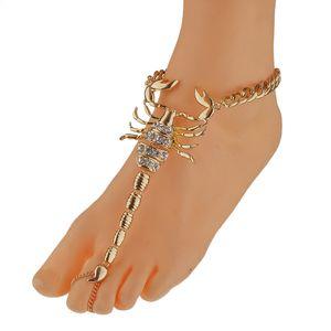 Damen Modeschmuck Einzelnen Strass Skorpion Gold Fußkettchen Geformt