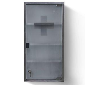 Jago® Medizinschrank - Abschließbar, 4 Fächer, Stahl, Glas, Tür, 30x12x60cm, Silber - Medikamentenschrank, Arzneischrank, Erste Hilfe Schrank, Hausapotheke, Apothekerschrank