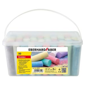 Eberhard Faber EF-526550 Stoepkrijt Emmer Met 50 Krijtjes.