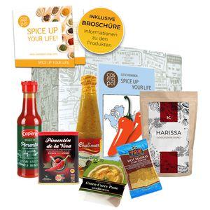 Spice up your life Geschenk Box scharfes Essen Scharfe Saucen & Scharfe Gewürze aus aller Welt Chili | Scharfes Geschenk für Männer Frauen Geschenkset