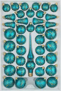 39 tlg. Glas-Weihnachtskugeln Set in 'Ice Petrol-Türkis Goldene Ornamente'