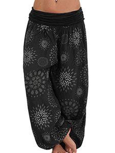 Damen bedruckte bequeme Yogahose mit weitem Bein,Farbe: Schwarz,Größe:L