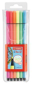 STABILO Fasermaler Pen 68 6er Kunststoff Etui Neonfarben