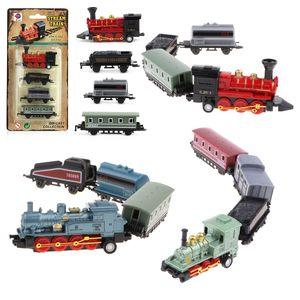 3pcs Mini Kinder Spielzeugautos Dampfzug Lokomotive Eisenbahnwagen Kleinkind Spielzeug