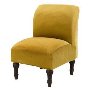 Bezug für armlosen Stuhl Bezug aus weichem Samtstoff Bezug für armlosen Stuhl Bezug für Slipcover Möbelschutz (Gelb, Samt)