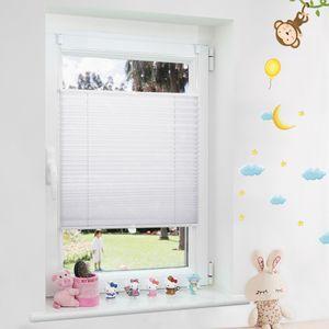 Grandekor Plissee Klemmfix ohne Bohren, Jalousien für Fenster und Tür, Weiß 85x120cm(BxH)
