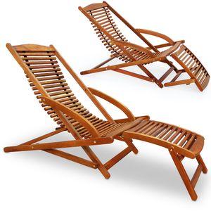 2x Sonnenliege aus Akazienholz mit Schaukelfunktion + Kopfkissen