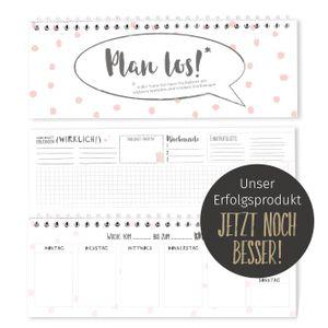 bigdaygraphix Tischkalender im Quer-Format - Ohne festes Datum - 52 Wochen - 1 Woche 2 Seiten - rosa