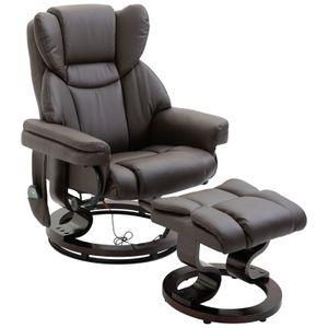 HOMCOM Massagesessel mit Fußhocker Relaxsessel Heizfunktion 145°-Neigung PolyurethanBraun 79 x 82 x 101 cm