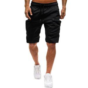 Herren Sommer Casual Elastic Joggings Sport Solid Baggy Pockets Kurze Hose Größe:XL,Farbe:Schwarz