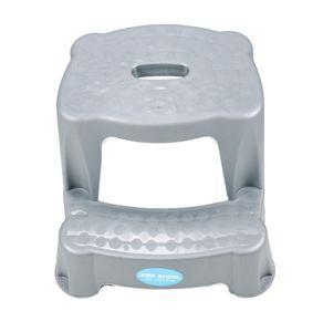2 Tritt-Hocker für Kinder als Stehhilfe fürs Waschbecken und zum Sitzen, gummierte Füße, 2 Stufen, aufgeraute Stehfläche, Eingriff zum Tragen, leicht, Kunststoff, Tragkraft max. 45 kg, Farbe Hellgrau