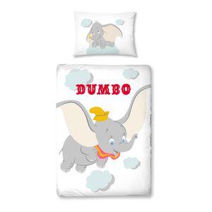 DUMBO Bettwäsche 40x60 + 100x135 cm ☆ Kinder-Bettwäsche für Mädchen & Jungen ☆ Disney Dumbo Elefant - 100% Baumwolle