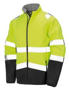 Herren Safety Softshell Jacke - Farbe: Fluorescent Yellow/Black - Größe: L