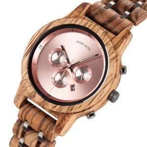 BOBO BIRD Damen Holzuhr Chronograph & Datumsanzeige Holz Quarzuhr Mode Armbanduhr fue r Damen