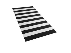 Teppich Schwarz mit Weiß 80 x 150 cm mit Streifen Handgewebt Rechteckig Modern