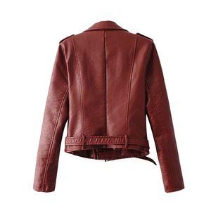Damen Damen The Belt Fashion Kunstleder Racing Style Bikerjacke Größe:M,Farbe:Rot