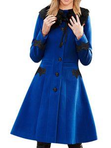 Damen langer Wollspitzenmantel mit abnehmbarem Pelzkragen,Farbe: Blau,Größe:XXL