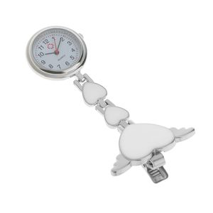 Krankenschwesteruhr - Schwesternuhr - Pflegeruhr - aus Metall - Herz Ketten - Medizinische FOB-Uhr - Taschenuhr - Ketteuhr (Weiß) Weiß