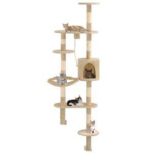 Wandkratzbaum Tier-,Haustierbedarf,Haustierbedarf,Katzenbedarf,Kratzbäume Wandkratzbaum mit Sisal-Kratzsäulen 194 cm Beige