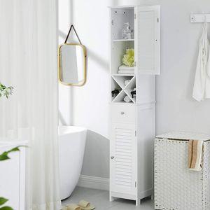 VASAGLE Badezimmerschrank, Hochschrank, 32 x 30 x 170 cm, Badschrank mit 2 Lamellentüren, herausnehmbares X-förmiges Regal, weiß BBC69WT