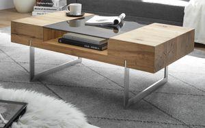 Couchtisch Rewa in Asteiche und Edelstahl Wohnzimmer Tisch mit Stauraum 110 x 60 cm