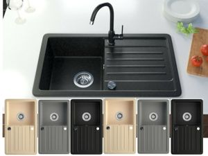 Granitspüle Küchenspüle Granit Siphon Einbauspüle Spülbecken Spüle Granit 75x45, Farbe:Schwarz
