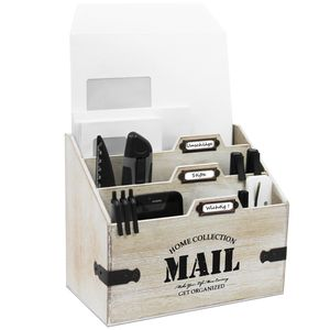 Holz Schreibtischorganizer 'Mail' mit 3 Fächern - Braun/Weiß