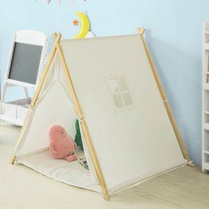 SoBuy Spielzelt für Kinder mit 2 Türen und einem Fenster Spielhaus Weiß OSS02-W