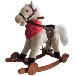 Schaukelpferd mit Sound und Rollen Holz Plüsch Schaukel Pferd bis 20kg NEU SP2 Beige
