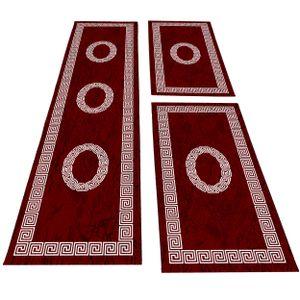 Bettumrandung Läuferset 3 teilig Teppich kurzflor Mäander Muster Rot Weiß, Farbe:Rot, Bettset:2 mal 80x150 cm + 1 mal 80x300 cm