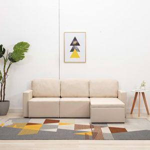 Modulares 3-Sitzer-Schlafsofa Creme Stoff Wohnlandschaft-Sofa Relaxsofa für Wohnzimmer Schlafzimmer Esszimmer