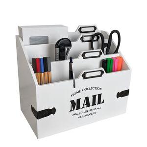 Holz Schreibtischorganizer 'Mail' mit 3 Fächern - Weiß