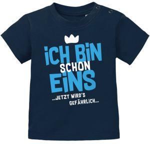 Baby T-Shirt 1. Geburtstag Spruch Ich bin schon 1 jetzt wird's gefährlich Geburtstagsshirt Baumwolle MoonWorks® navy-blau 80/86 (10-15 Monate)