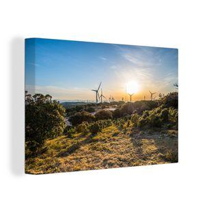 Leinwandbild - Windpark in rauer Natur in Japan - 150x100 cm - Foto auf Leinwand - Gemälde auf Holzrahmen