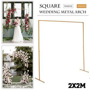 2M DIY Eisen Hochzeit Bogen Tür Hintergrund Schmiedeeisen dekorative Requisiten Blumenregal -Gold