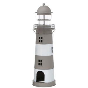 Laterne LONG ISLAND grau weiß Leuchtturm Windlicht aus Metall H75cm - GROSS