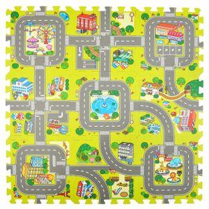 """Pink Papaya Puzzlematte """"Stadt"""" Straßen-Teppich 92 x 92 cm 9 teilige Spielmatte für Kinder"""