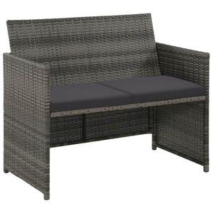 vidaXL 2-Sitzer-Gartensofa mit Polstern Grau Poly Rattan