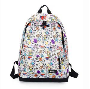 Kpop BTS Rucksack Weiß Backpack Studenttasche Schulrucksack Sportrucksack 31*45*15cm