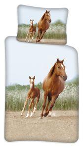 Kinder Bettwäsche Set 100x140 40x45 n Garnitur Pferde Tiermotiv