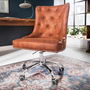 Höhenverstellbarer Bürostuhl VICTORIAN vintage hellbraun mit Armlehne und Ziersteppung Schreibtischstuhl Drehstuhl