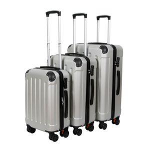 3er Kofferset Trolley Koffer Set | Hartschalenkoffer Reisekoffer Gepäck  | Hartschalen Rollkoffer Silber